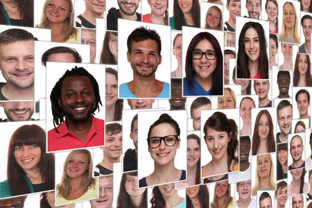 background collage group portrait of young smile smiling people