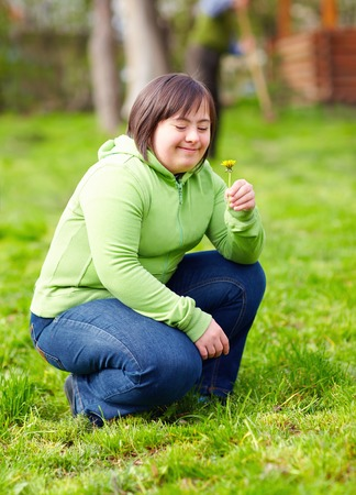 young adult woman with disability