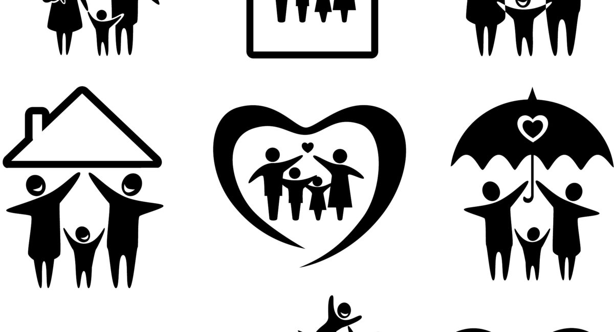 Big set of family icons. Happy family concepts: father, mother, daughter and son together.